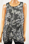 Charter Club Women Sleeveless Gray Metallic Embroidered Blouse Top XL