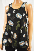 Charter Club Women's Black Floral Embroidered Mesh Tank Blouse Top 2XL