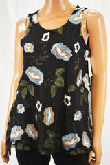 Charter Club Women's Black Floral Embroidered Mesh Tank Blouse Top S