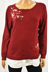 Charter Club Women's Red Layered-Look Embroidered Sweater Top S
