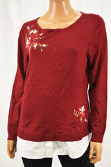 Charter Club Women's Red Layered-Look Embroidered Sweater Top M
