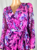 $99 New SANGRIA Women Plus Size Floral Printed Belted Maxi Dress Pink Size 22W - evorr.com