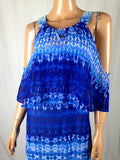 $60 New NY Collection Women's Cold Shoulder Printed Blue Maxi Dress Size XL - evorr.com
