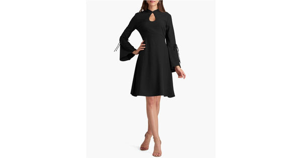 $80 New ECI Women's Black A-Line Bell Sleeve Key-Hole Tunic Dress Size 10
