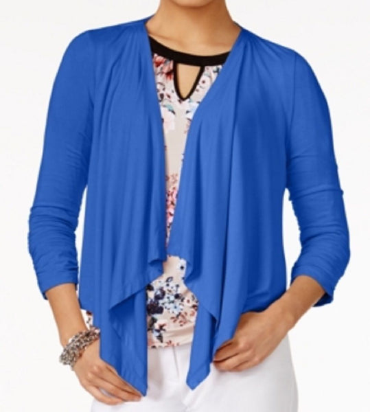 Grace Elements Women Stretch Blue Draped Open Front Cozy Cardigan Shrug Top S