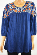 NY Collection Women's 3/4 Sleeve Round Neck Blue Embroidered Blouse Top L