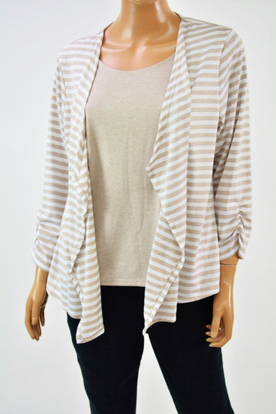 Alfred Dunner Acadia Women Beige Stripe Layered-Look Cardigan Shrug Blouse Top S