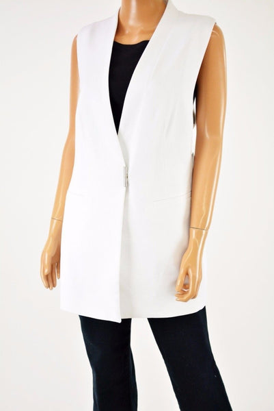 Alfani Women's Sleeveless White Snap Button Vest Cardigan Shrug Top Size 14