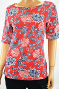 Karen Scott Women Elbow Sleeve Boat Neck Red Amore Floral Print Blouse Top S