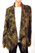 Grace Element Women's Stretch Cheetah Printed Draped Cardigan Shrug Top 12