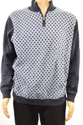 Tasso Elba Mens Long-Sleeve Navy Blue Diamond Pattern 1/4-Zip Pullover Sweater L
