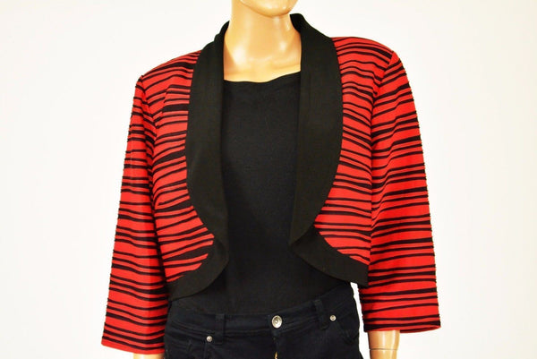 R&M Richards Women Red Striped Open Front Wavy-Knit Cardigan Shrug Plus 16W