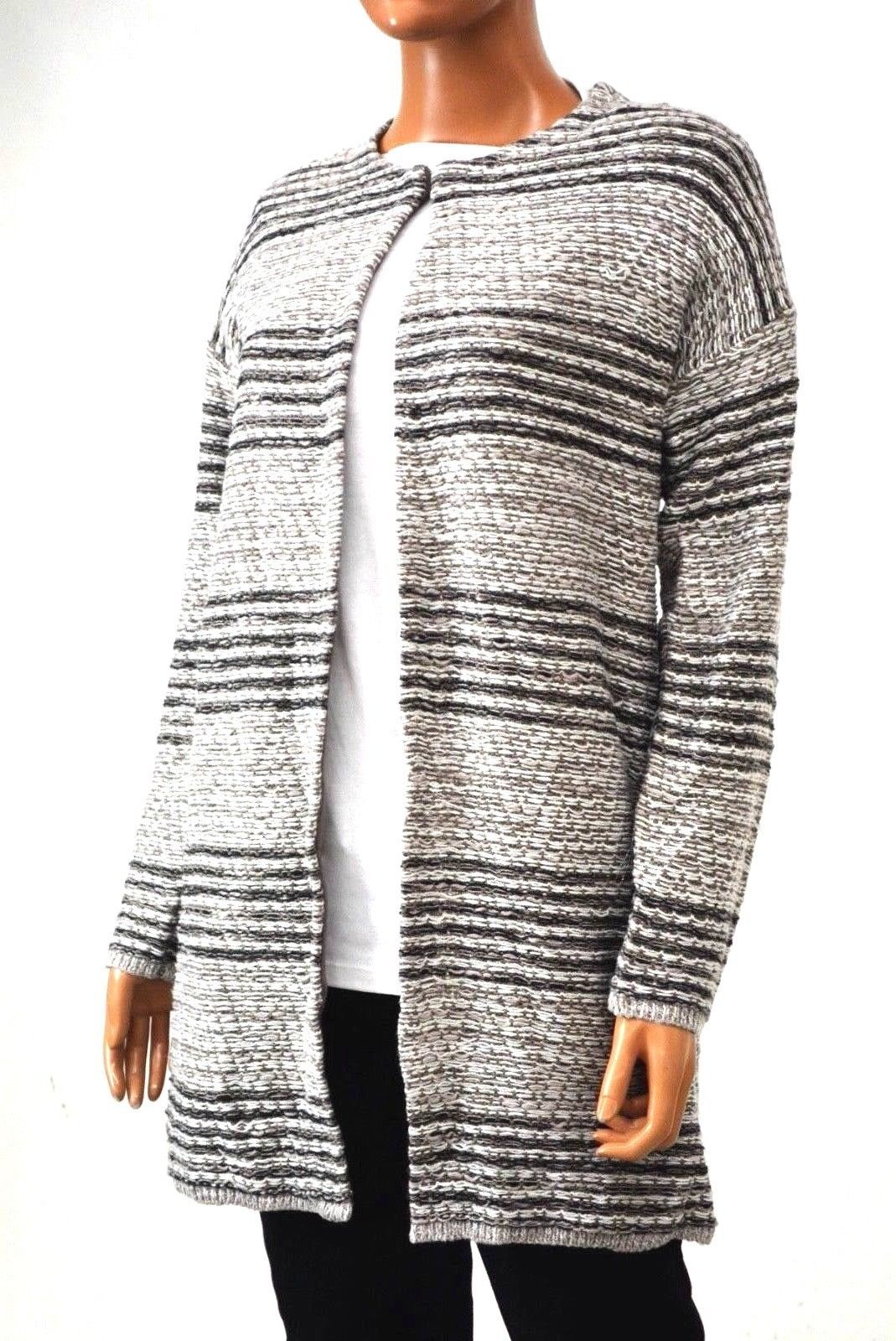 Cable Gauge Women's Metallic Gray Striped Cardigan Sweater Coat Top M