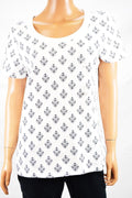 Charter Club Women's Short Sleeve Cotton White Printed T-Shirt Blouse Top L