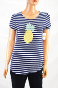 Charter Club Women's Blue Striped Embroidered-Beaded T-Shirt Blouse Top S