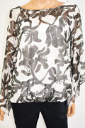 Alfani Women's Bell Sleeve Boat-Neck White Printed Bubble Hem Blouse Top Plus 1X