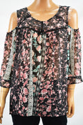 NY Collection Women's 3/4 Sleeve Black Floral Print Cold Shoulder Blouse Top L