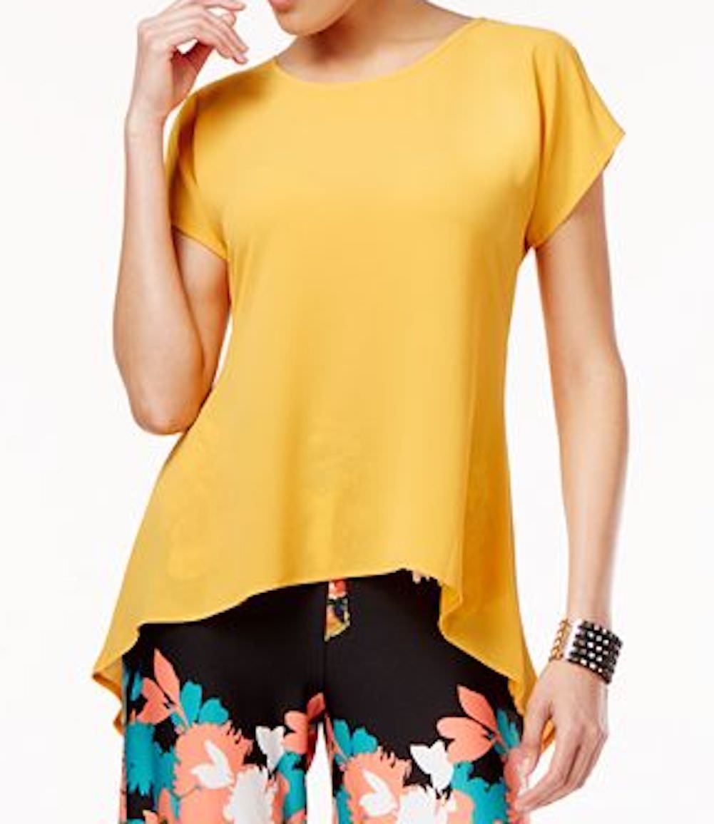 Cable&Gauge Women Split Slv Stretch Yellow Crossover Asymmetric Blouse Top XL