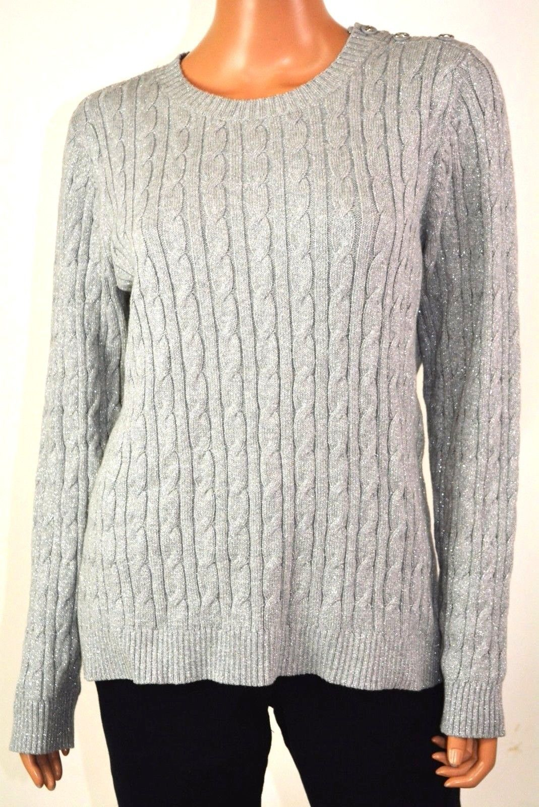 Charter Club Women Crew-Neck Metallic Gray Embellished Cable Knit Sweater Top L