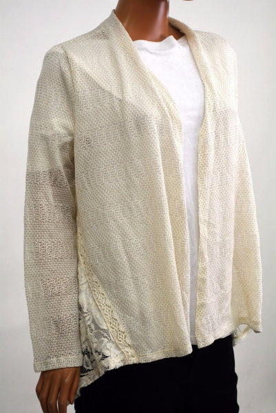 Style&Co Women's Stretch Ivory Open-Front Lace Inset Sheer Cardigan Shrug Top L