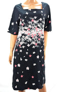 Charter Club Women's Short-Sleeves Black Floral-Print Shift Tunic Dress Plus 2X