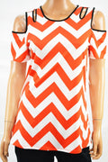 NY Collection Women Stretch Red Chevron Print Cold-Shoulder Cutout Blouse Top S