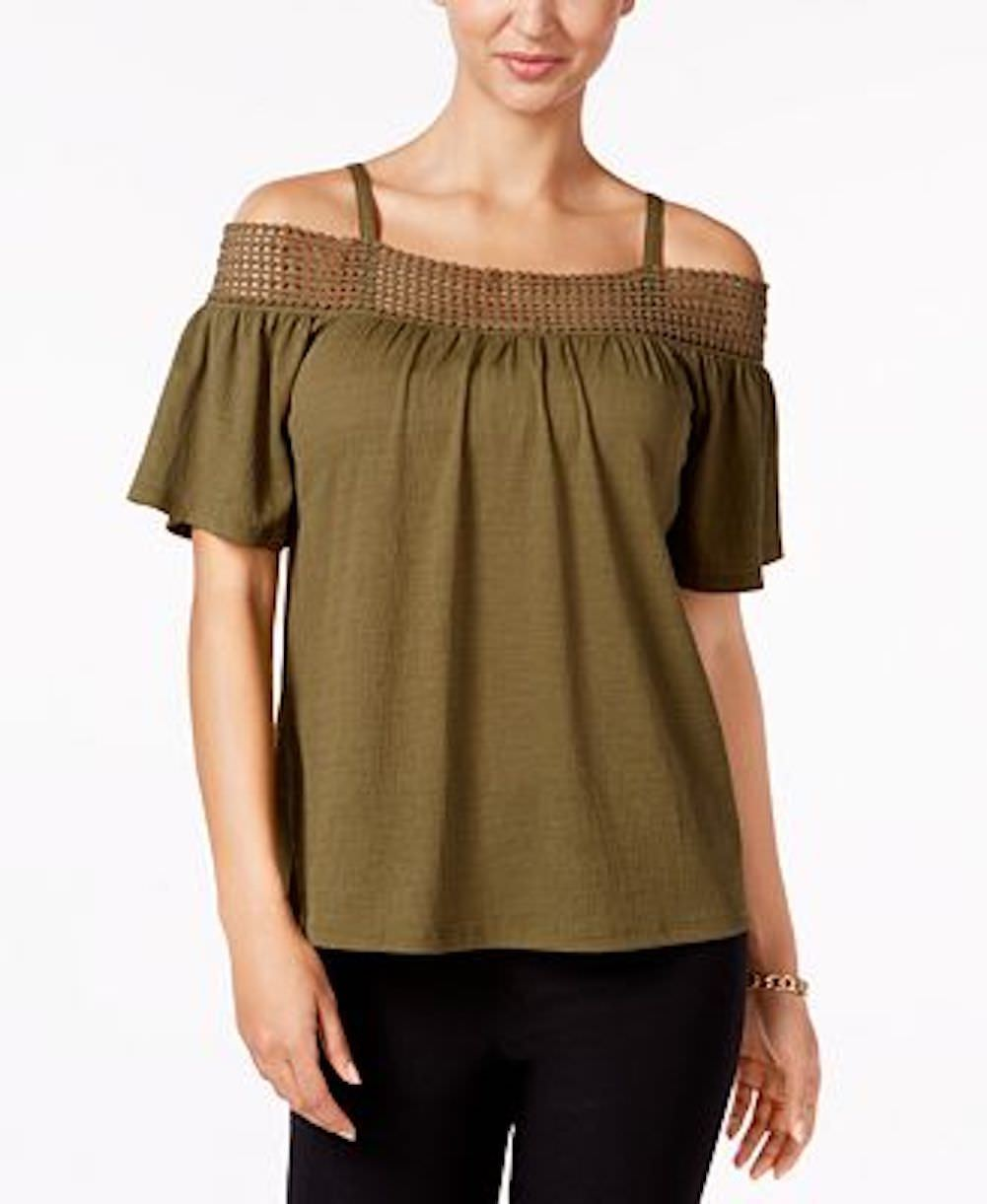 Cable & Gauge Women Stretch Green Cold Shoulder Lace Crochet Trim Blouse Top M