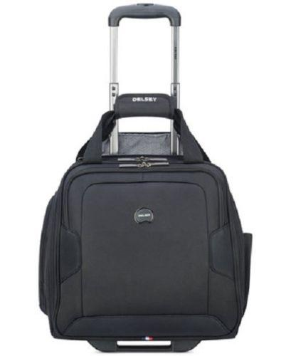 $160 Delsey Opti Max Wheeled Under Seat Suitcase Carry-on Travel Tote Bag Black