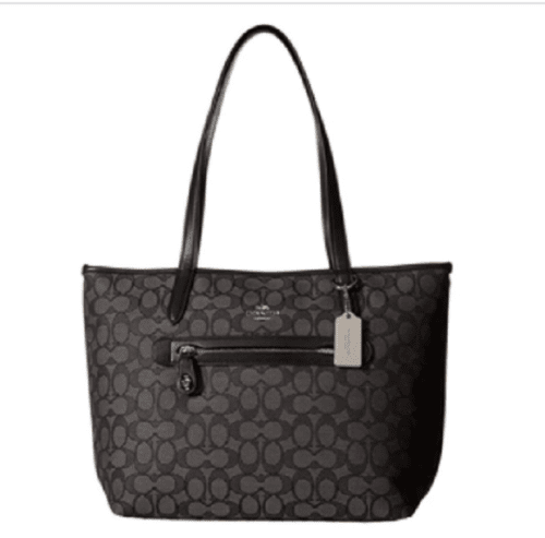 $228 NEW COACH Women's Taylor Black/Smoke Signature Tote Bag Medium