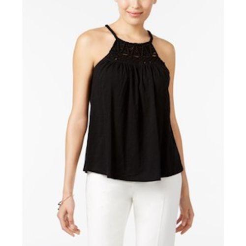 Cable & Gauge Women's Cotton Black Solid Crochet-Detail Halter Blouse Top S