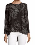 Vince Camuto Women's Long-Sleeve Black Floral Pleated-Back Hi-Lo Blouse Top XS