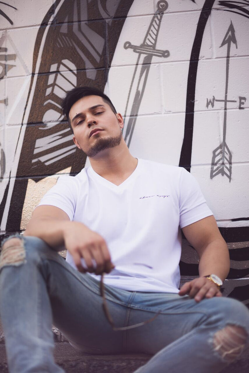 White V Neck Tee Signature Logo