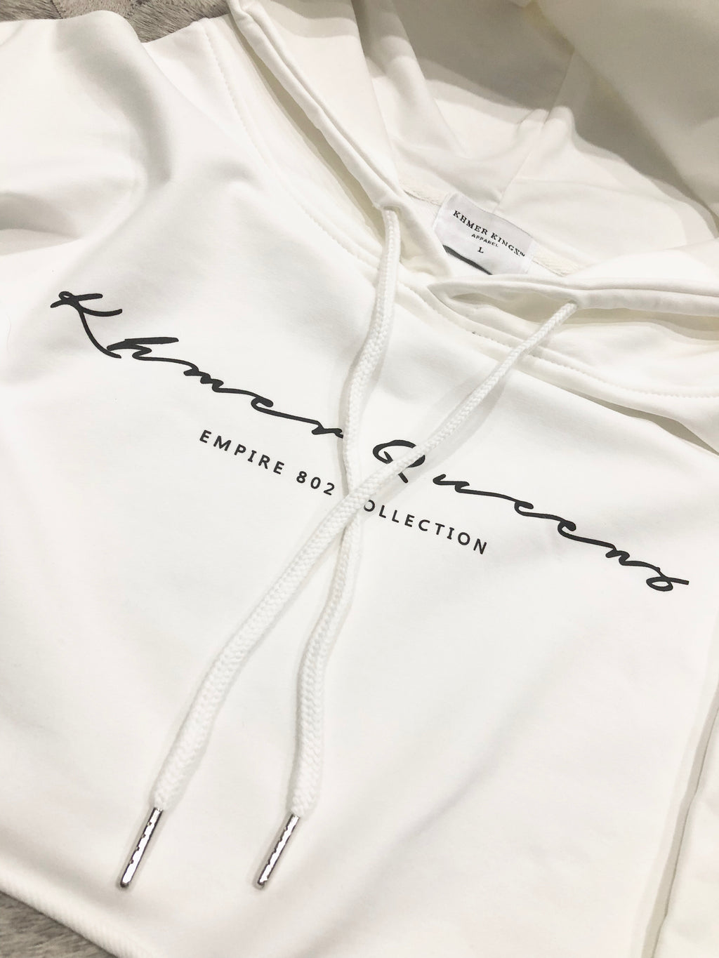 White Khmer Queens Signature Crop Hoodie