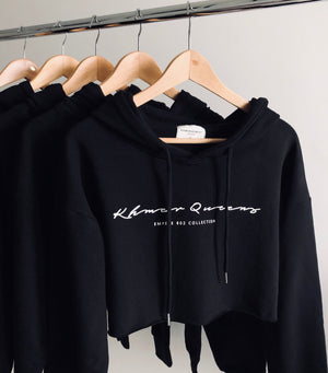 Black Khmer Queens Signature Crop Hoodie