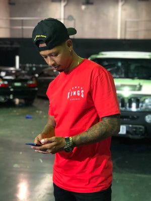 Red Warped Logo Tee