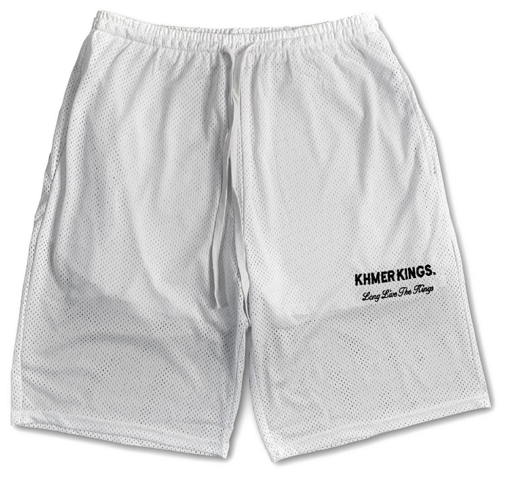 Khmer Kings Mesh Shorts (White)