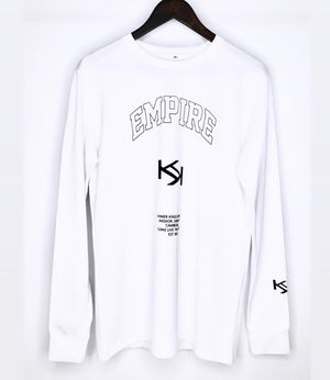 White EMPIRE KK Long Sleeve Tee