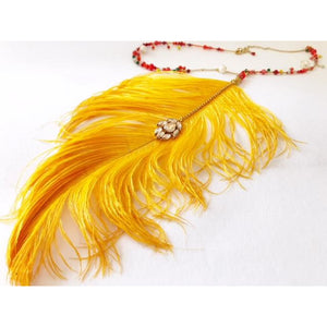 Golden Ostrich Feather Long Necklace - Detachable SOLD OUT