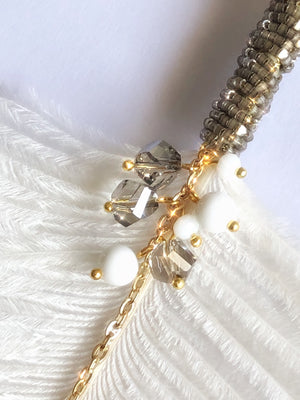 Natural Ostrich Feather & Baroque Pearl Long Necklace White