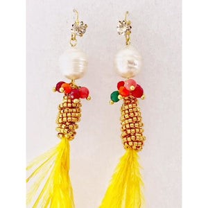 Golden Ostrich Feather Earrings