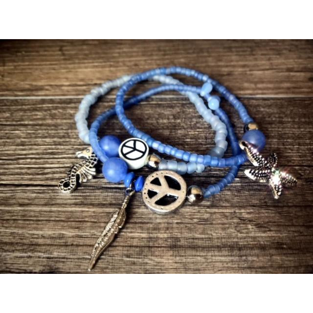 Bracelet Trio of Blues Peace Seastar Seahorse Feather