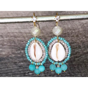 Cowry Shell Earrings Blue Jade