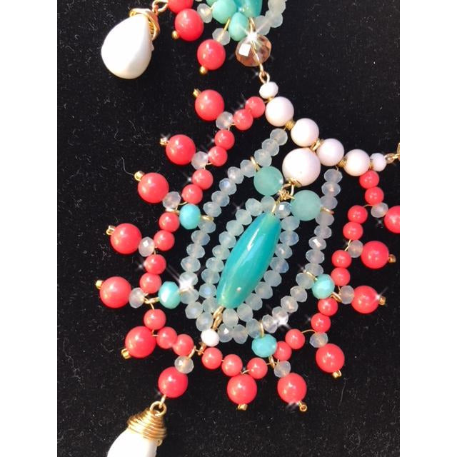 Aquamarine & Coral Necklace