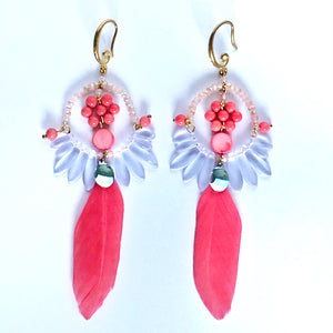 Coral Feather Earrings