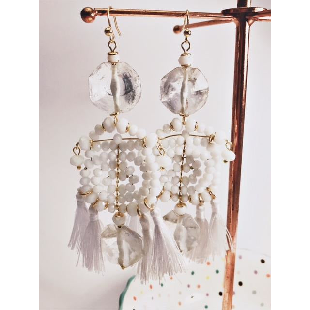 White Aztec Earrings