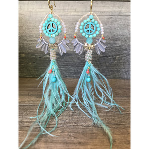 Turquoise Ostrich Feather Earrings - Bohemian Like You
