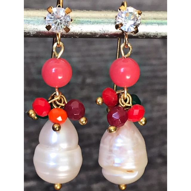 Sari Earrings Coral