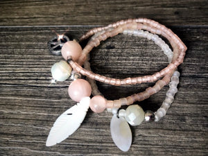 Bracelet Trio in Apricot Peace Sea