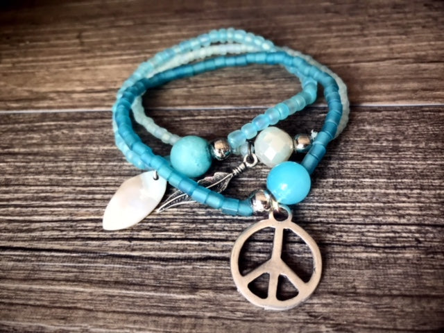 Bracelet Trio in Aqua Peace Boho Beach