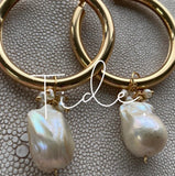 Huge hoops with baroque pearls